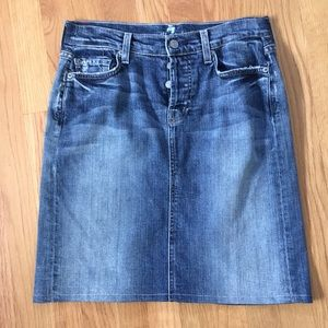 7 For All Mankind distressed jean skirt